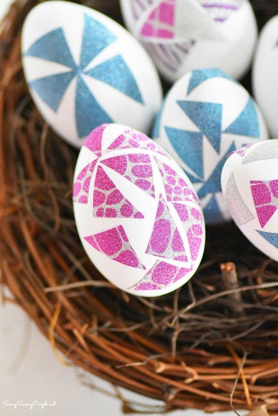 washi tape easter egg decorating