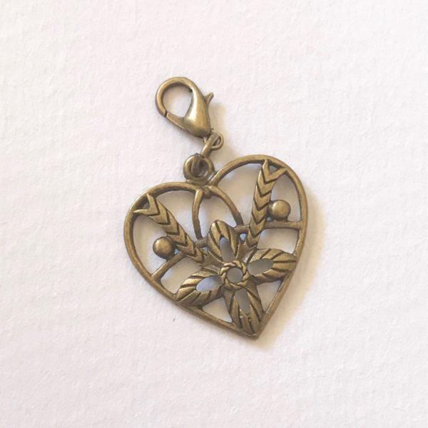 Vintage heart planner charm