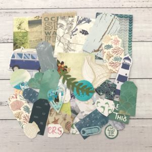 beach themed die cut paper pack