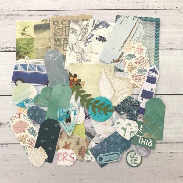 beach themed die cut paper pack